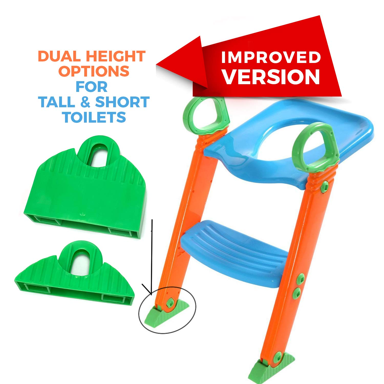 Potty Toilet Seat with Step Stool ladder, (3 in 1) Trainer for Kids Toddlers W/ Handles. Sturdy, Comfortable, Safe, Built In Non-Slip Steps W/ Anti-Slip Pads. Excellent Potty Seat Step Boys Girls Baby by Alayna (Image #3)