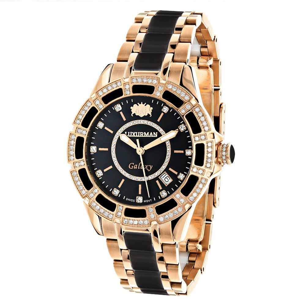 Real Diamond Stainless Steel and Black Ceramic Watch Rose Gold Plated LUXURMAN Galaxy Swiss Quartz Watch