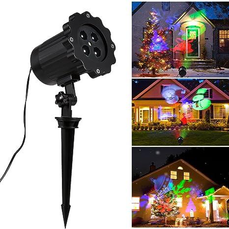 Portable Christmas Lights.Led Party Landscape Lighting Laser Lights Projector Greenclick Outdoor Seasonal Decorative Star Light Portable Christmas Spotlights Show Lamp For