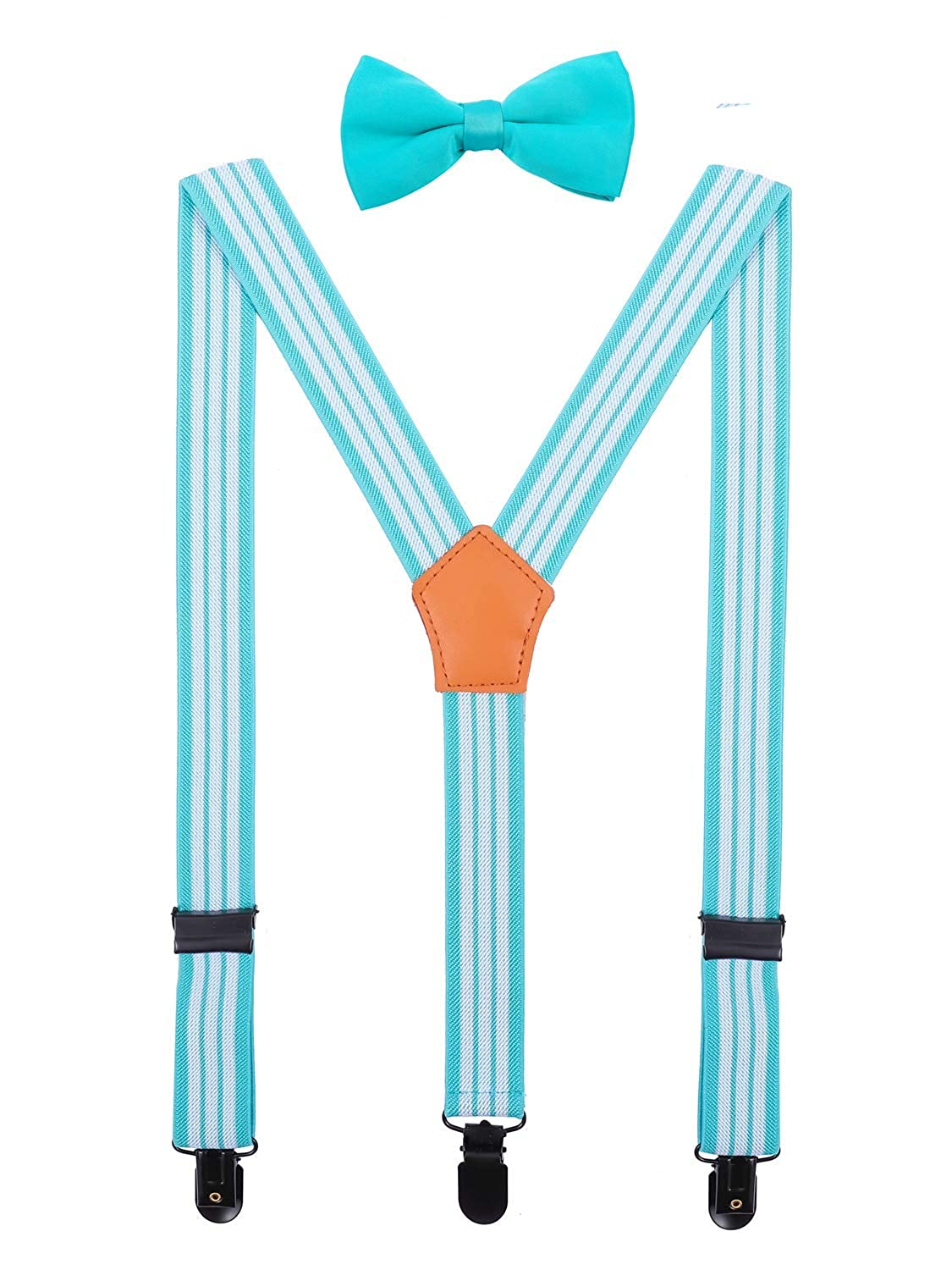 ORSKY Men Boys Suspenders and Bow Tie Set Adjustable with Black Clips