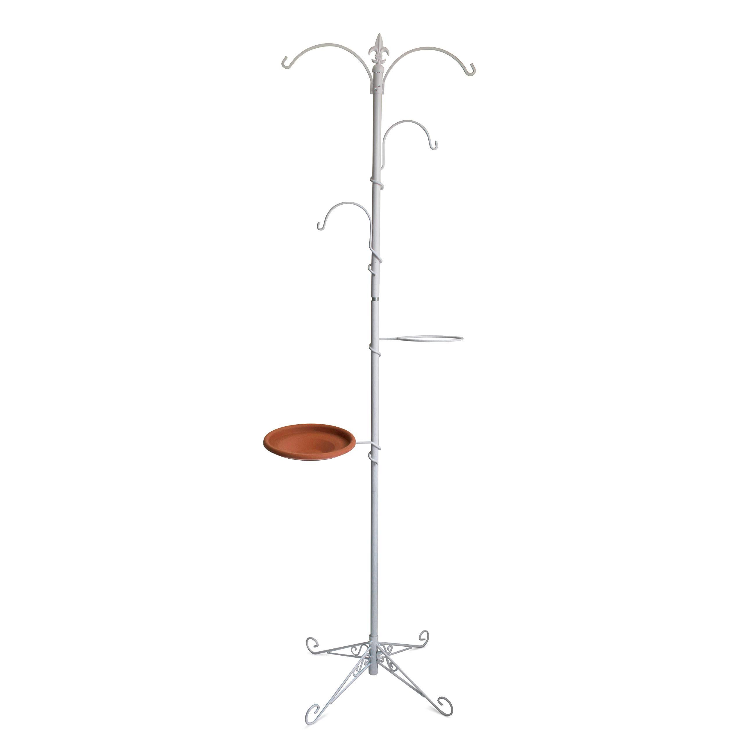 "Gray Bunny GB-6888W Premium Yard Tree Metal Stand- Bird Feeding Station Kit/Hanging Garden System, 79""(200 cm) Tall, White, Wind Chime/Lantern Hanger/Planter Stand/Bird Bath/Wild Bird Feeder"