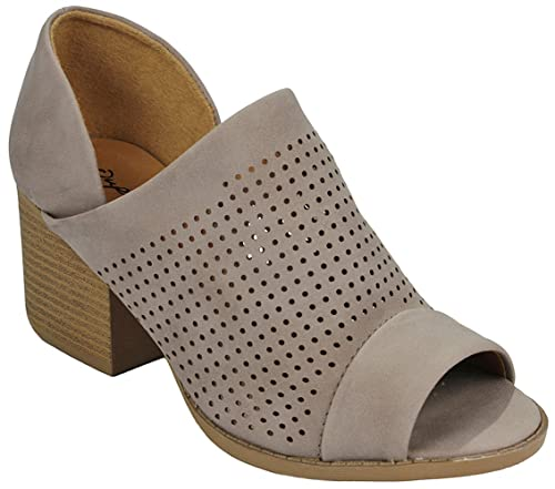 6d12879329ca Women s Core Taupe Peep Toe V Side Cut Out Slip On Roman Low Chunky Stacked  Block