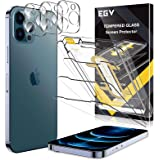 [3+3 Pack] EGV 3 PCS Screen Protector + 3 PCS Camera Lens Protector Compatible with iPhone 12 Pro Max 6.7-inch Tempered Glass