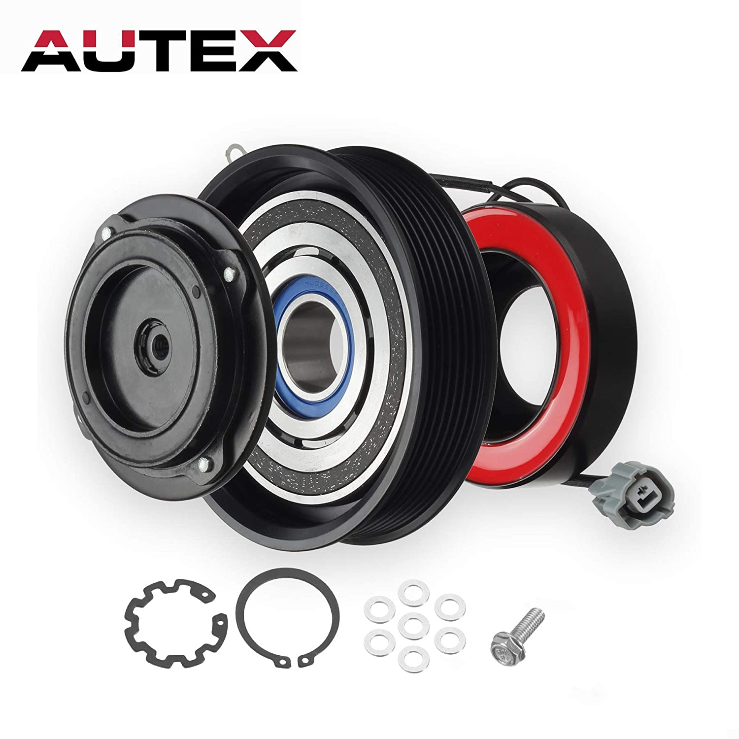 AUTEX AC A/C Compressor Clutch Coil Assembly Kit 38810RAAA01 4710537 10000628 Replacement for 2003 2004 2005 2006 2007 Honda Accord 2.4L