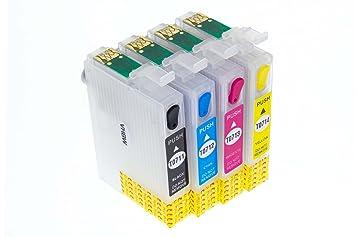 vhbw CISS Cartuchos vacíos de Impresora B/C/M/Y Chip para Epson ...