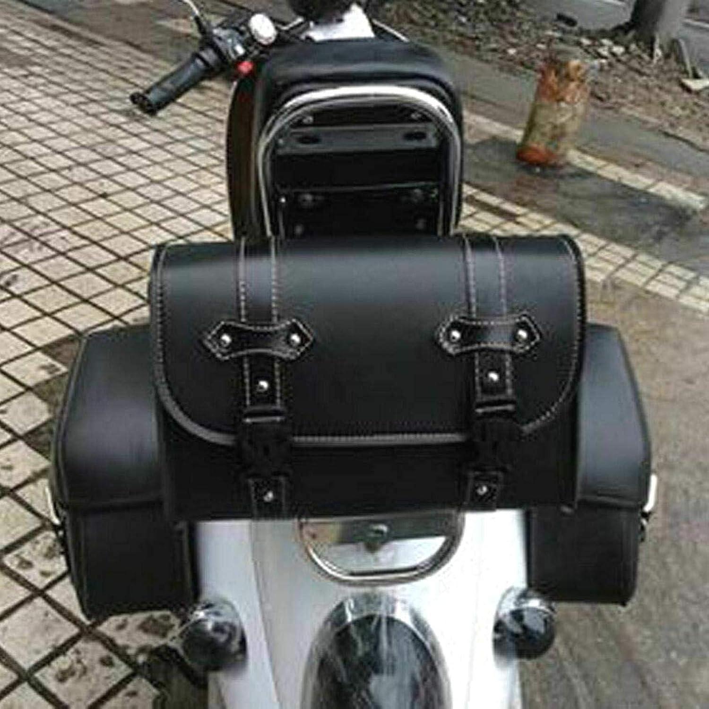 ZXYAN Sacoche de Selle Noire pour Moto Sacoche Universelle en Cuir PU avec 2 Sangles de Fixation