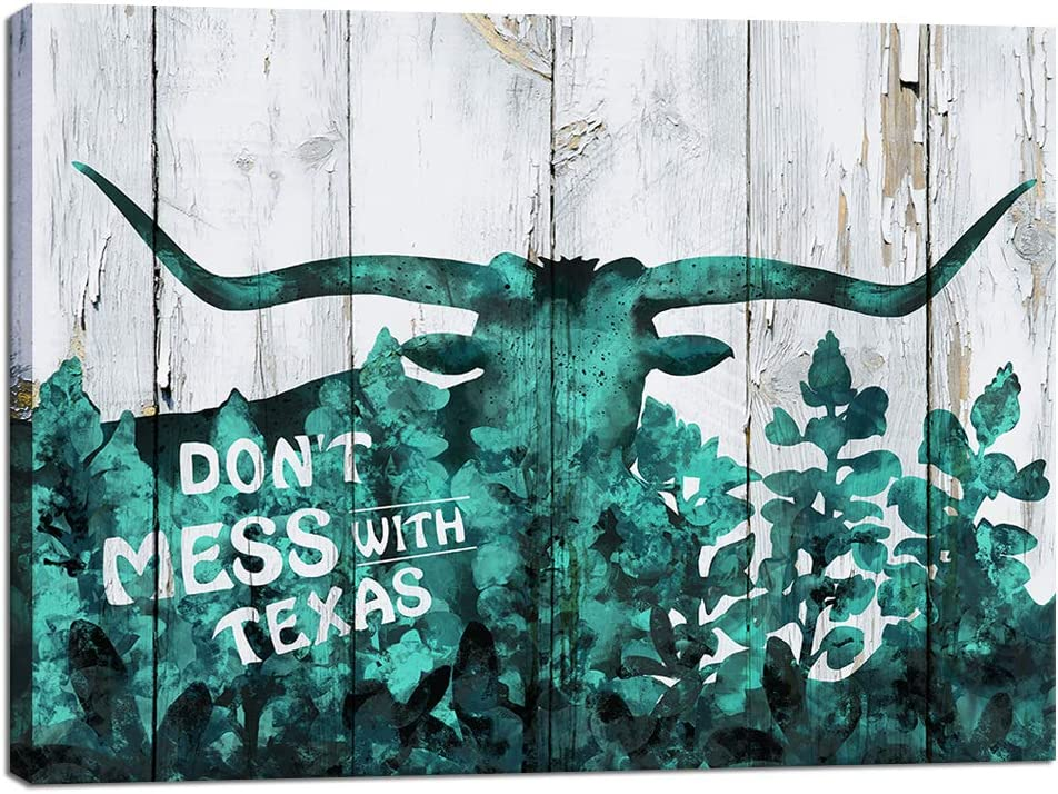 Visual Art Decor Abstract Teal Texas Longhorn with Bluebonnets Canvas Wall Art Rustic Don't Mess with Texas Saying Prints Ready to Hang for Farmhouse Home Bedroom Wall Decoration (16x20)