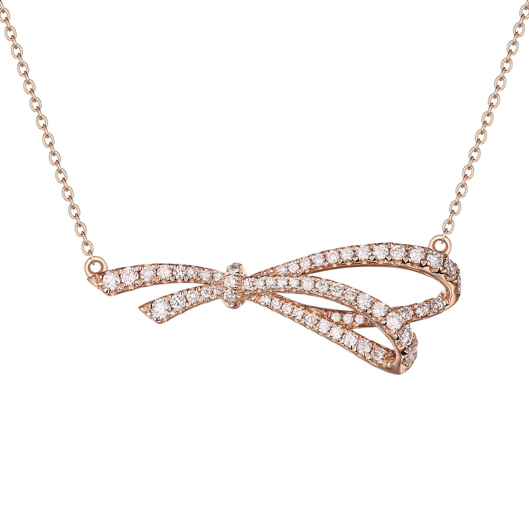 Prism Jewel 0.36 Carat Natural G-H/I2-I3 Diamond Designer Necklace, 14k Rose Gold