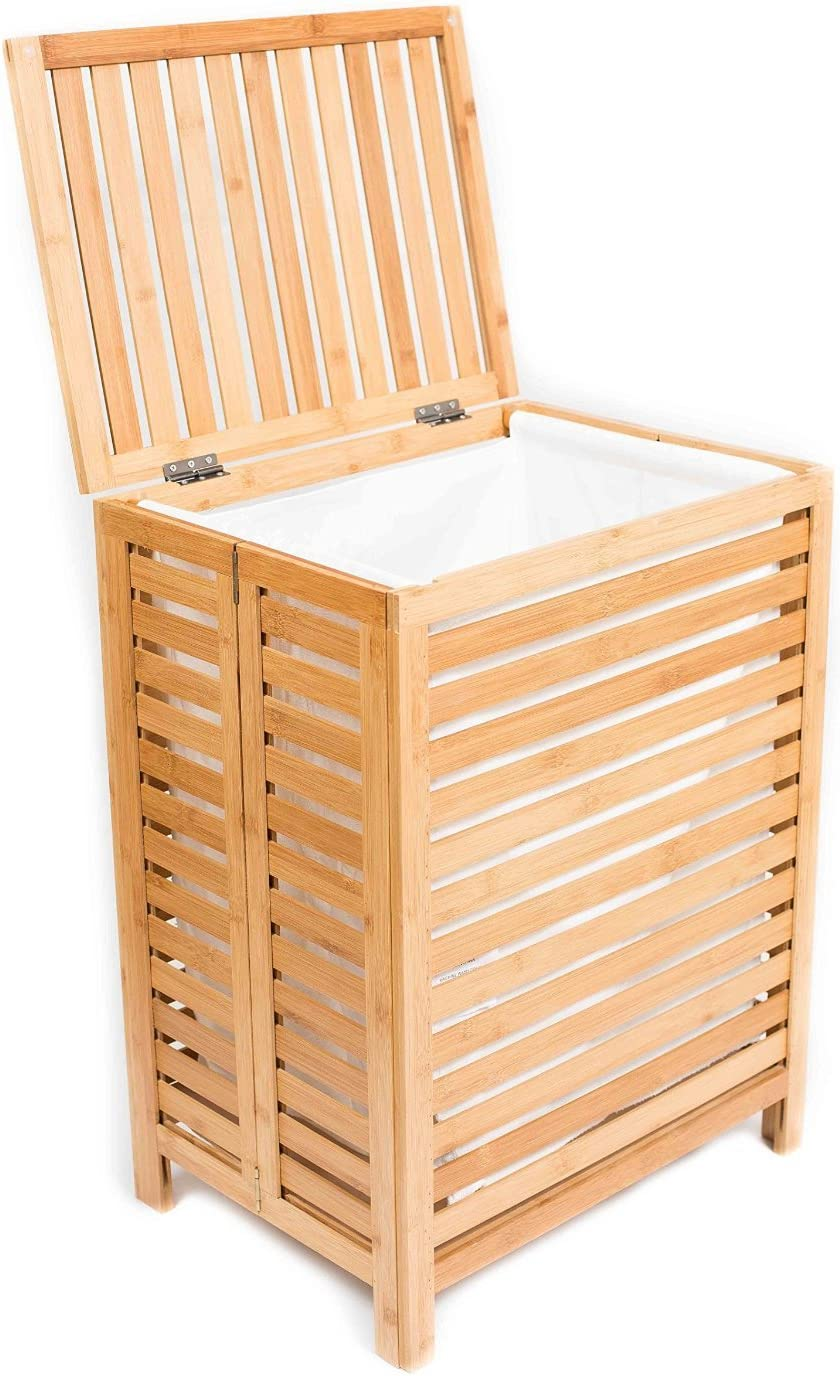 BirdRock Home Folding Bamboo Hamper (Large) - Made of Natural Bamboo - Includes Machine Washable Cotton Canvas Liner