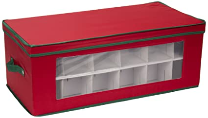 Genial Household Essentials 551RED Large Christmas Tree Ornament Storage Box |  Stores Up To 36 Xmas Ornaments