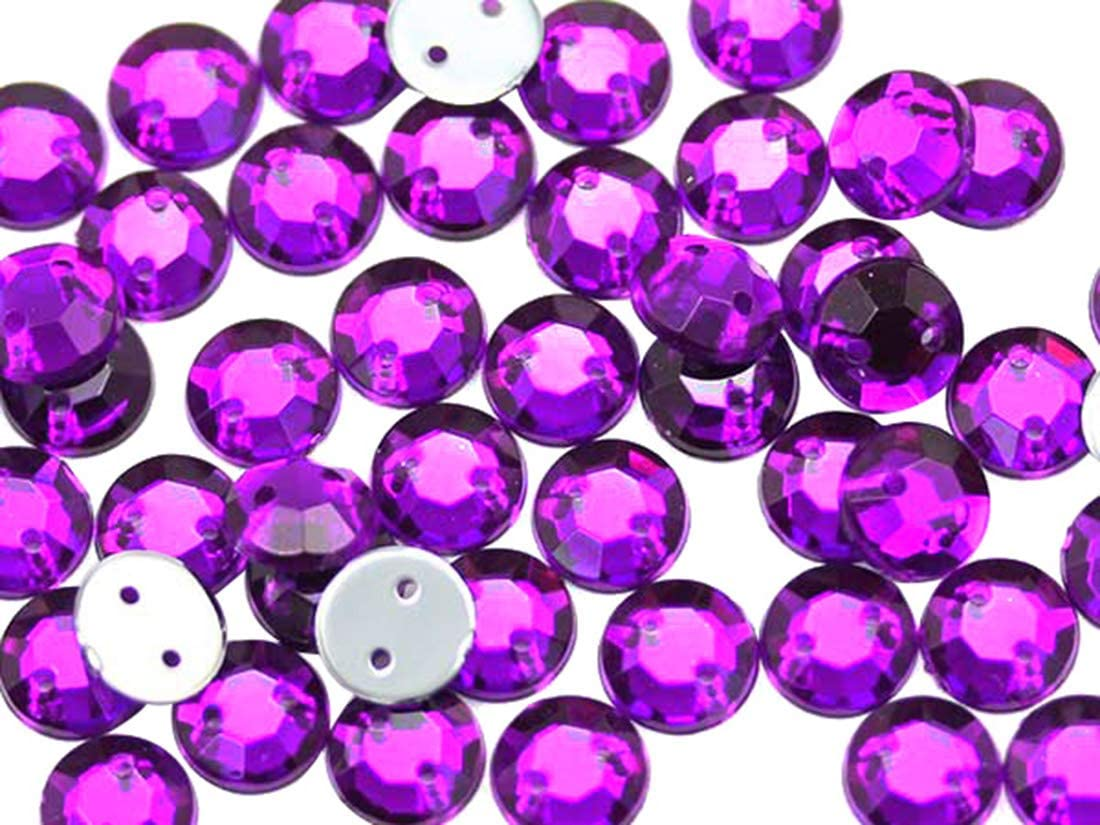 Costume Cosplays Blue Sapphire H104-100 Pieces Allstarco 7mm Flat Back Sew On Rhinestones Beads for Crafts Plastic Acrylic Round Gems with Holes for Sewing Clothing Embelishments
