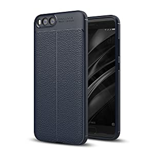Xiaomi Mi 6 Cover, Tianqin Shockproof Ultra Thin Covers Protective Silicone Case Durable Carbon Fiber Housing Soft TPU Case Housing for Xiaomi Mi 6 Case - Blue