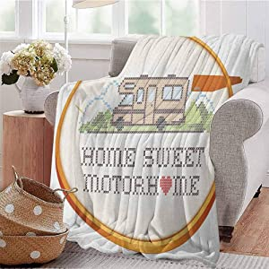 Luoiaax Home Sweet Home Rugged or Durable Camping Blanket Embroidery Hoop Cross Stitch Needlework Sewing Design Trailer Home Print Warm and Washable W70 x L70 Inch Multicolor