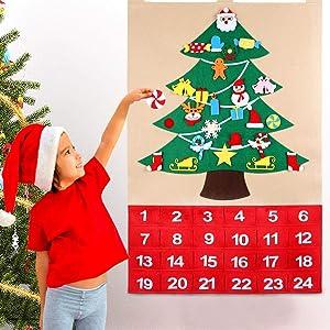 OurWarm Christmas Advent Calendar 2020, 24 Days Countdown Calendar with 24pcs Detachable Ornaments for Home Classroom Handmade Door Wall Hanging Decor, Christmas Decorations