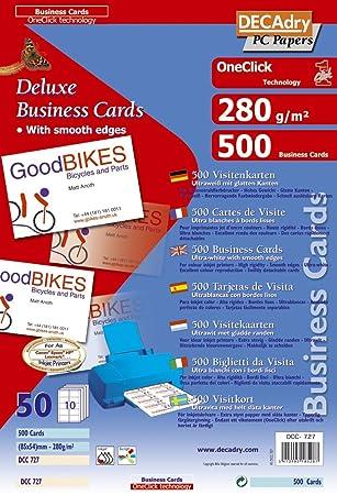 Apli DCC727 Lot De 500 Cartes Visite Inkjet 85 X 54 Mm 280 G Blanc