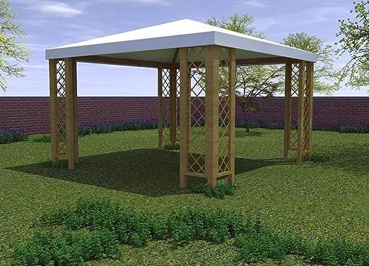 Salón Tienda Online Gazebo 364 x 364 cm con Rejillas de Madera de Pino Macizo Cobertura Impermeable: Amazon.es: Jardín