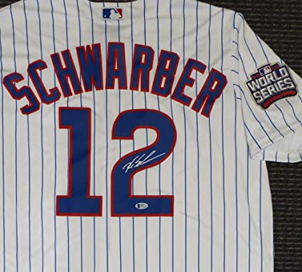 dc20d187eaf Chicago Cubs Kyle Schwarber Autographed White Majestic Cool Base Jersey  With 2016 World Series Patch Size