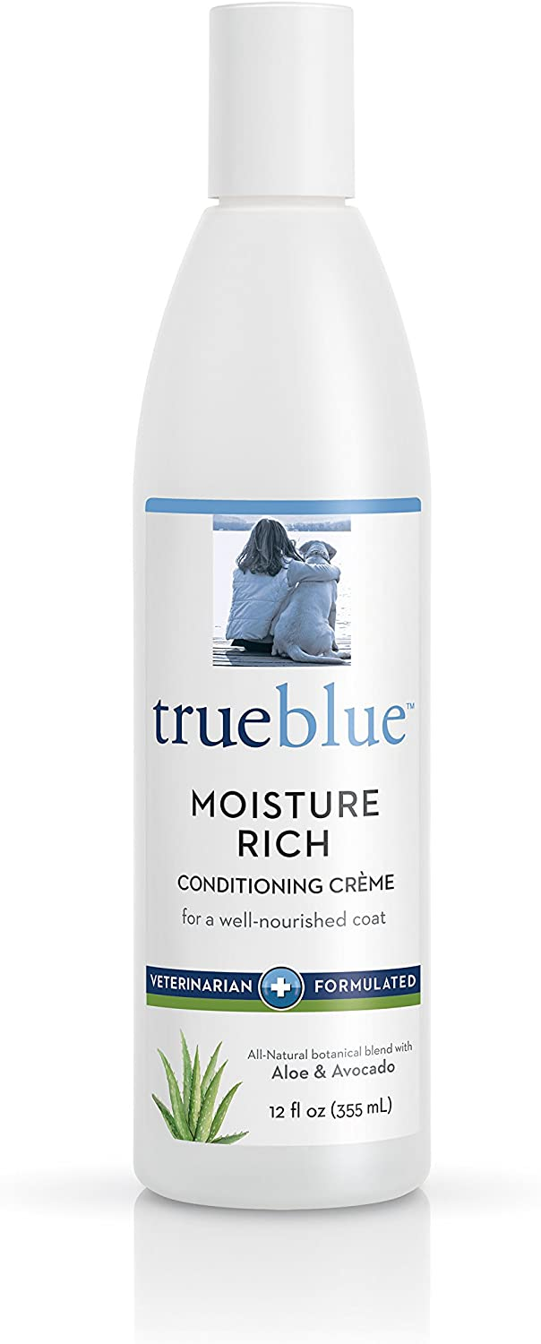 TrueBlue Aloe & Avocado Moisture-Rich Conditioning Dog Crème – Conditioner Cream for Dogs, Puppies - Deodorizing, Moisturizing, Tearless – Toxin Free, Natural Botanical Blend – 12 Fl. Oz.