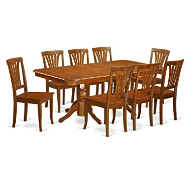 East West Furniture NAAV9-SBR-W 9-Piece Formal Dining Table Set