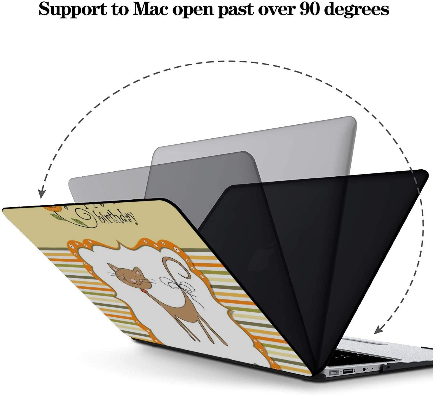 Mac Cases Cartoon Cute Cat with English Words Plastic Hard Shell Compatible Mac Air 11 Pro 13 15 13inch MacBook Air Case Protection for MacBook 2016-2019 Version