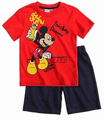 Disney Mickey Mouse traje corto rojo pijamay: Amazon.es ...