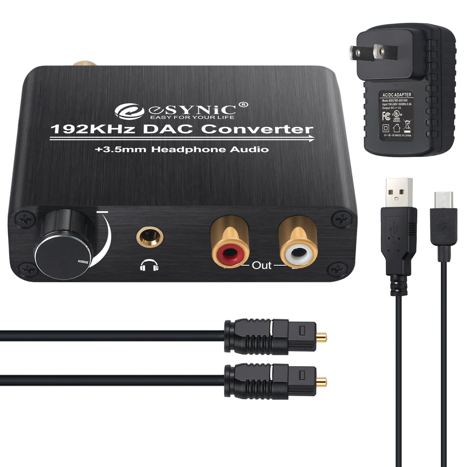 192kHz DAC Converter ESYNIC Digital to Analog Converter Volume Control Digital Coaxial Toslink to Analog Stereo L/R RCA 3.5mm Audio Adapter for Xbox DVD Blu-ray PS3 PS4 AV Amps Cinema Systems -US Plug by eSynic