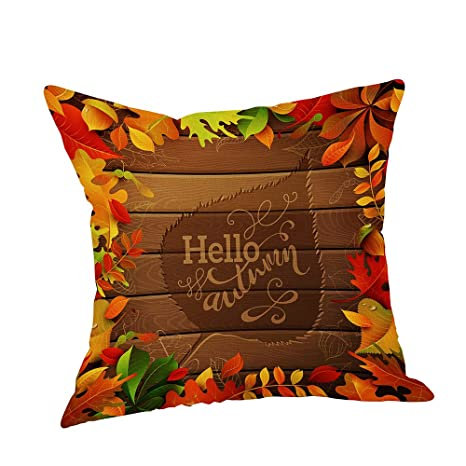 Clearance Happy Fall Thanksgiving Day Home Decor Linen Turkey Pillow Case Cushion Cover A