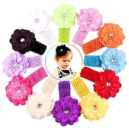 Xiaoyu 12PCS Las vendas multicoloras de la flor del peony del bebé dulce  c0bfaac95082