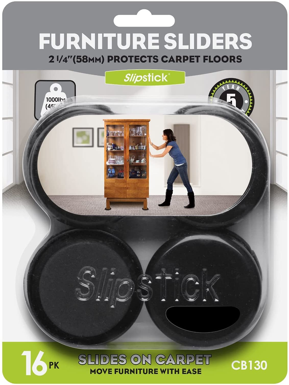 Slipstick CB130 Reusable Furniture Sliders for Carpet & Rugs (16 Pack) Premium 2-1/4 Inch Round Furniture Movers for Sliding Furniture Easily, Plastic Slider Feet Coasters