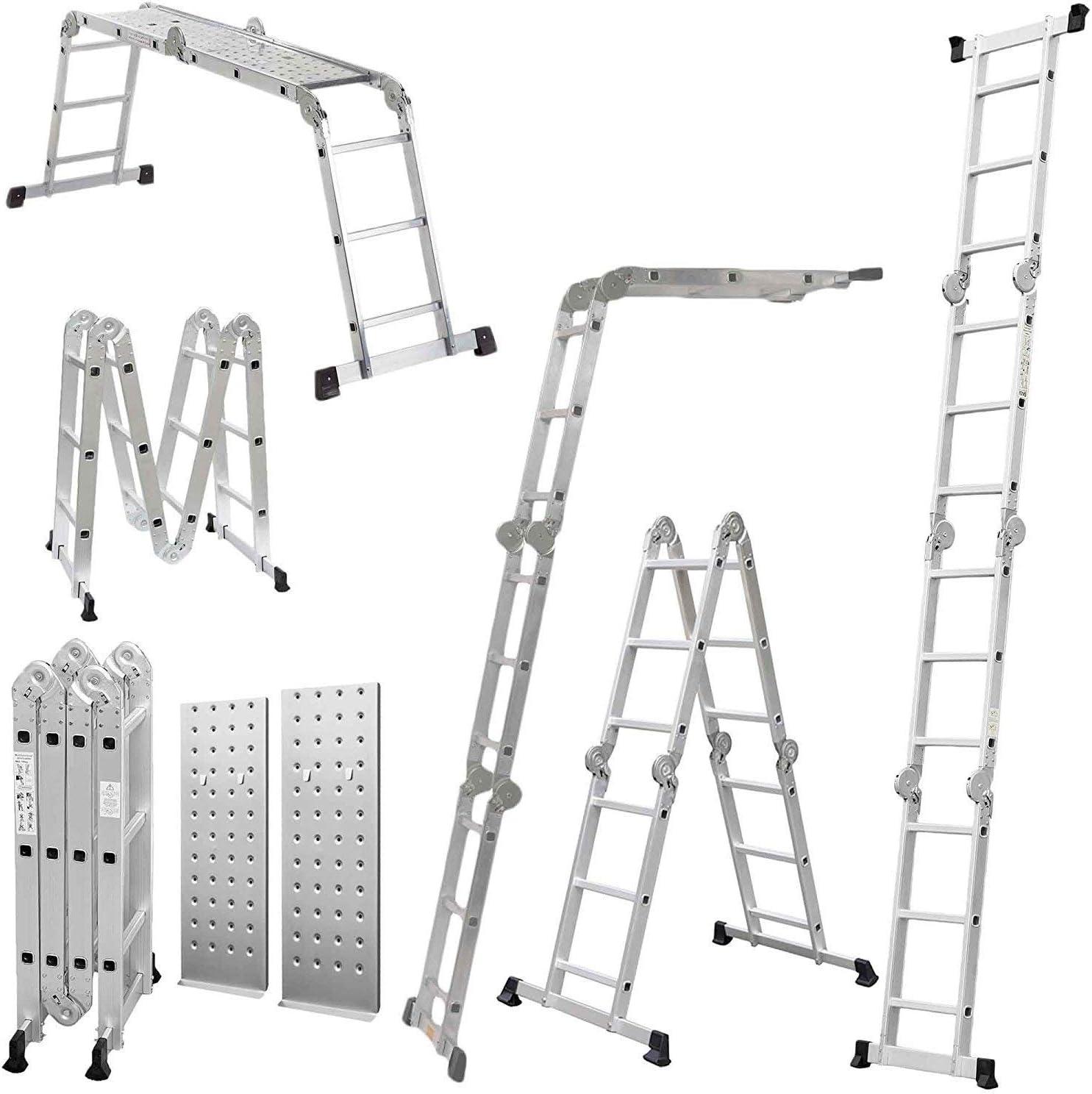 GABZ 4x4 - Escalera multifunción de aluminio (4,7 m, 2 plataformas): Amazon.es: Bricolaje y herramientas