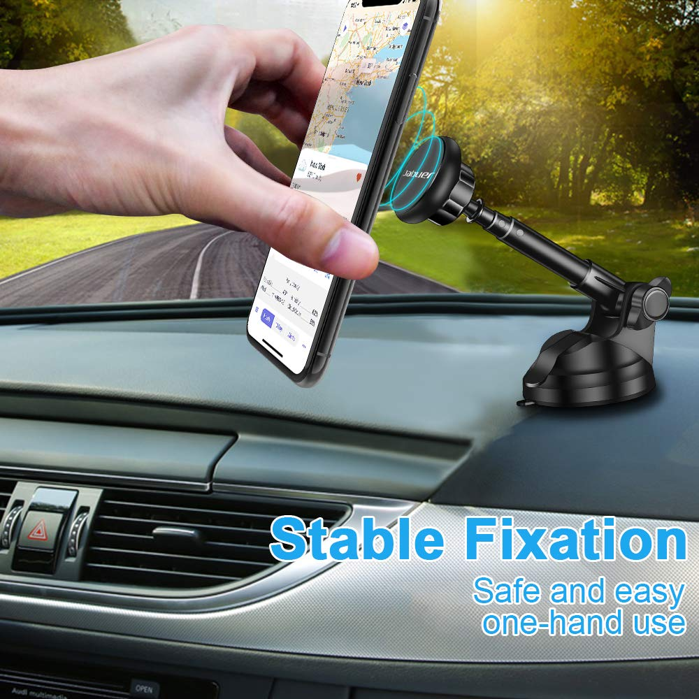 Magnetic Car Phone Mount, Jabuer Phone Holder for Car Dashboard and Windshield with 6 Strong Magnets and Metal Telescopic Arm, for iPhone Xs Max/XR/XS/X/8/7/6/6S, Galaxy S9/S8/S7/Note9/Note8 and More