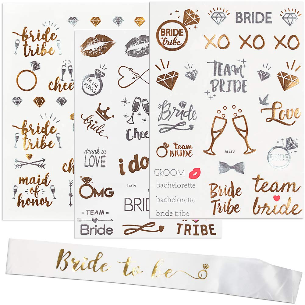 Bachelorette Party Decorations Supplies Flash Tattoos 70 Styles & Bride to Be Sash Bridal Shower Decorations