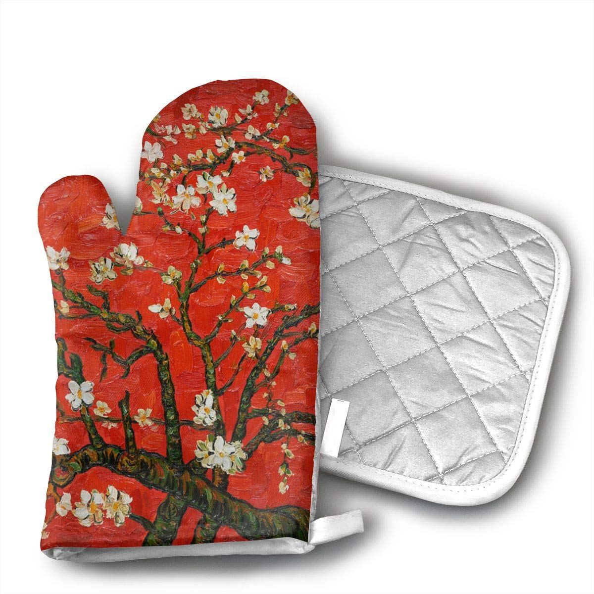 Klasl5 Cherry-Blossoms Oven Mitts,Heat Resistant Oven Gloves,Non-Slip Cooking Gloves,Washable Kitchen Mitts for Baking, Barbecue.