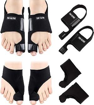Bunion Corrector & Bunion Relief Protector Sleeves Kit - 4 Pieces Bunion Splints Big Toe Straightener for Hallux Valgus Aid Surgery(L: Women Size 7.5-11 / Men Size 6-10, Black +Black)