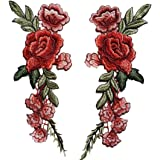 Owill 2PC DIY Embroidered Roses Floral Collar Sew Patch Sticker Applique Badge,rose flower