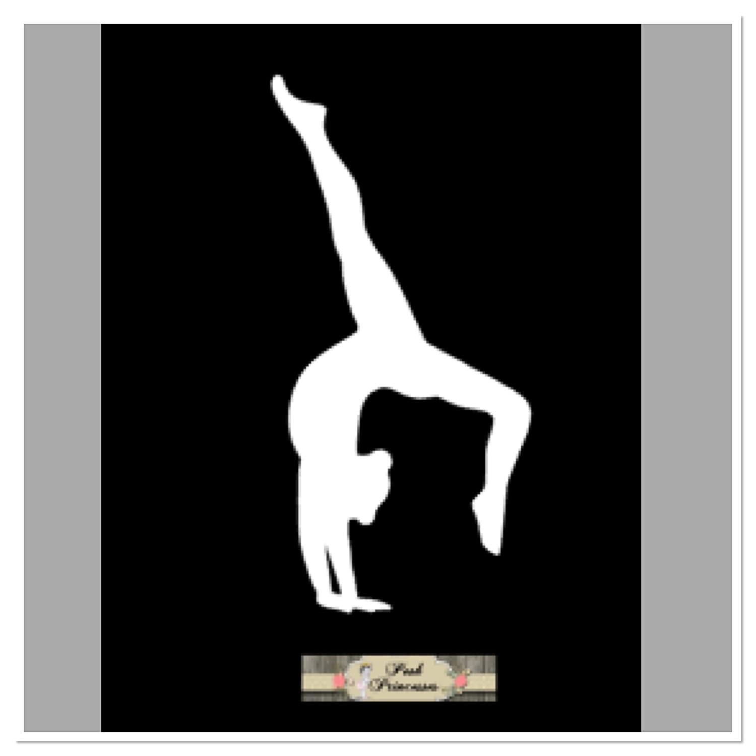 Gymnastic Decal Car Window Decal Laptop Sticker, Backbend Walkover, Handstand Decal White 4 x 2