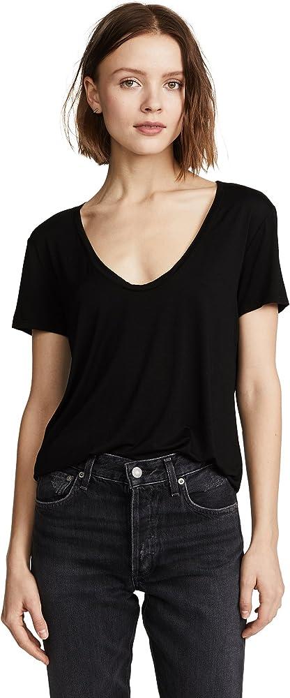 Splendid Camisa negra con cuello en U profundo para mujer: Amazon.es: Ropa y accesorios