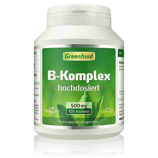 B-Komplex 50, hochdosiert, 120 Kapseln – alle Vitamine der B-Gruppe. Für einen klaren Kopf (B5), mehr Energie (B12) und schön