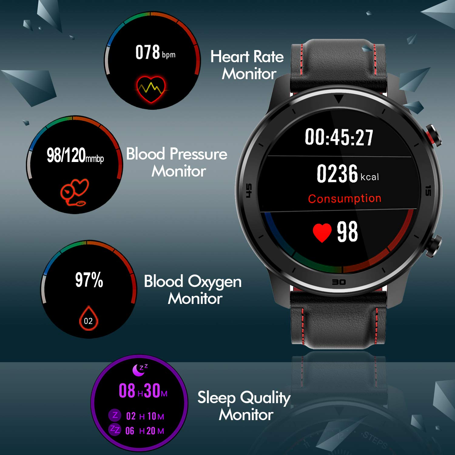 Smart Watch Touchscreen 1.3 Fitness Tracker with Blood Pressure Monitor IP68 Waterproof Fitness Watch Popglory Smartwatch HR 30 Days Battery Life Compatible with Android Phones and iPhone