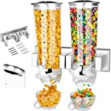 Food Dispensers 2 PACK Wall Mount Double Dry Cereal Dispenser, Convenient Storage Dual Control for Cereal Nuts, Coffee Beans