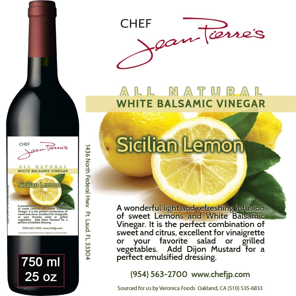 Traditional Barrel aged 12 years ''Sicilian Lemon White Balsamic'' 100% ALL NATURAL Vinegar 750ml (25oz) by Chef Jean Pierre
