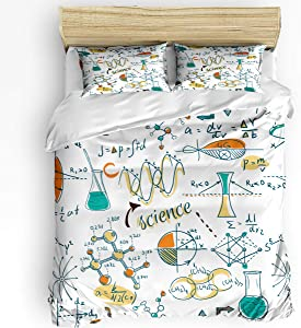 Doodle 3 Piece Bedding Set Comforter Cover Full Size, Science Lab Education Themed Drawing Scientific Formulas Biology Chemistry, Duvet Cover Set with Zipper Closure for Childrens/Kids/Teens/Adults