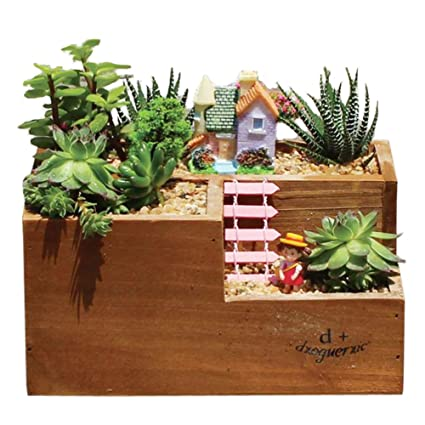 Ozzptuu Wooden Trough Planter Succulent Flower Bed Box Pot Container Garden  Window Box With 3 Divided