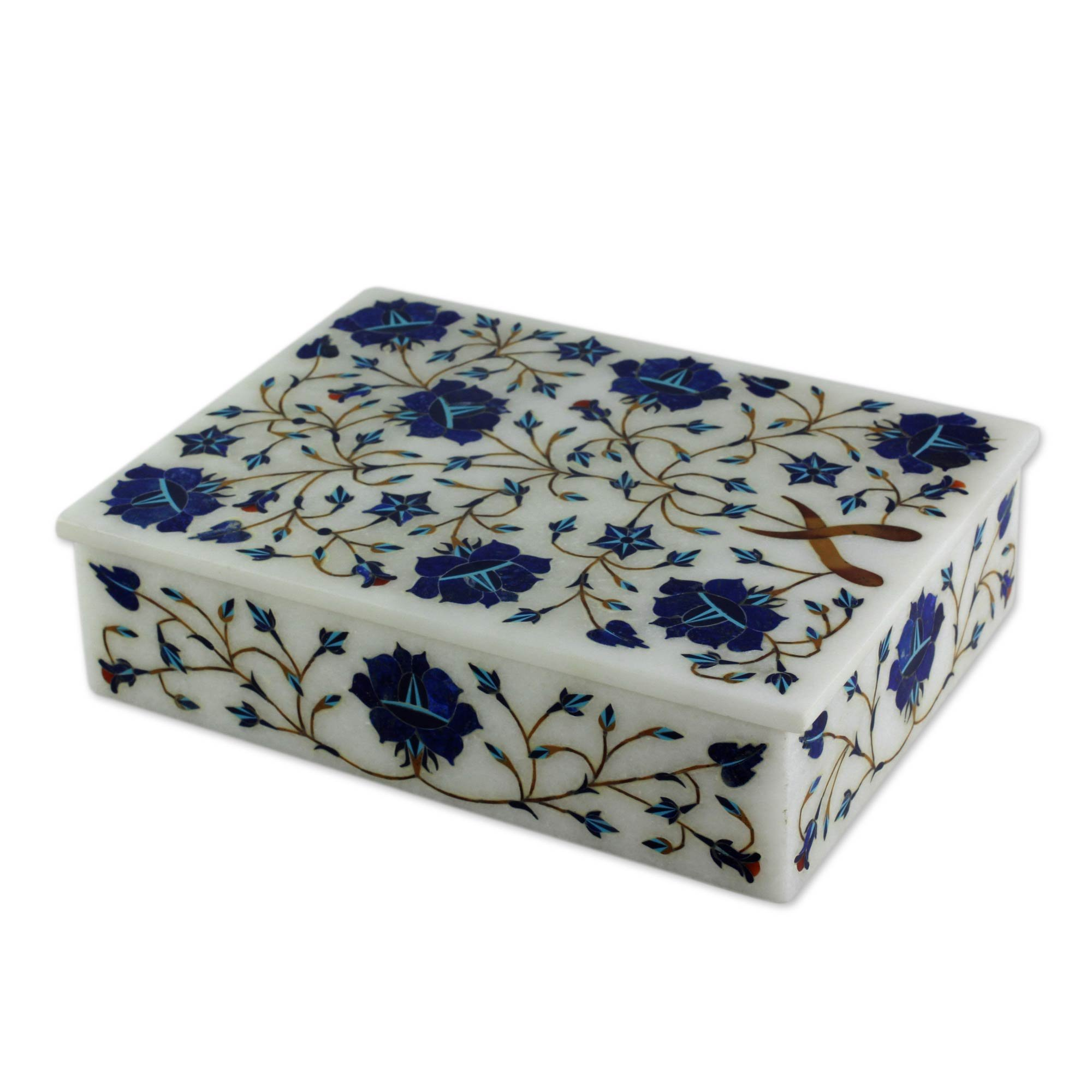 NOVICA Marble inlay jewelry box, Blue Forget Me Nots