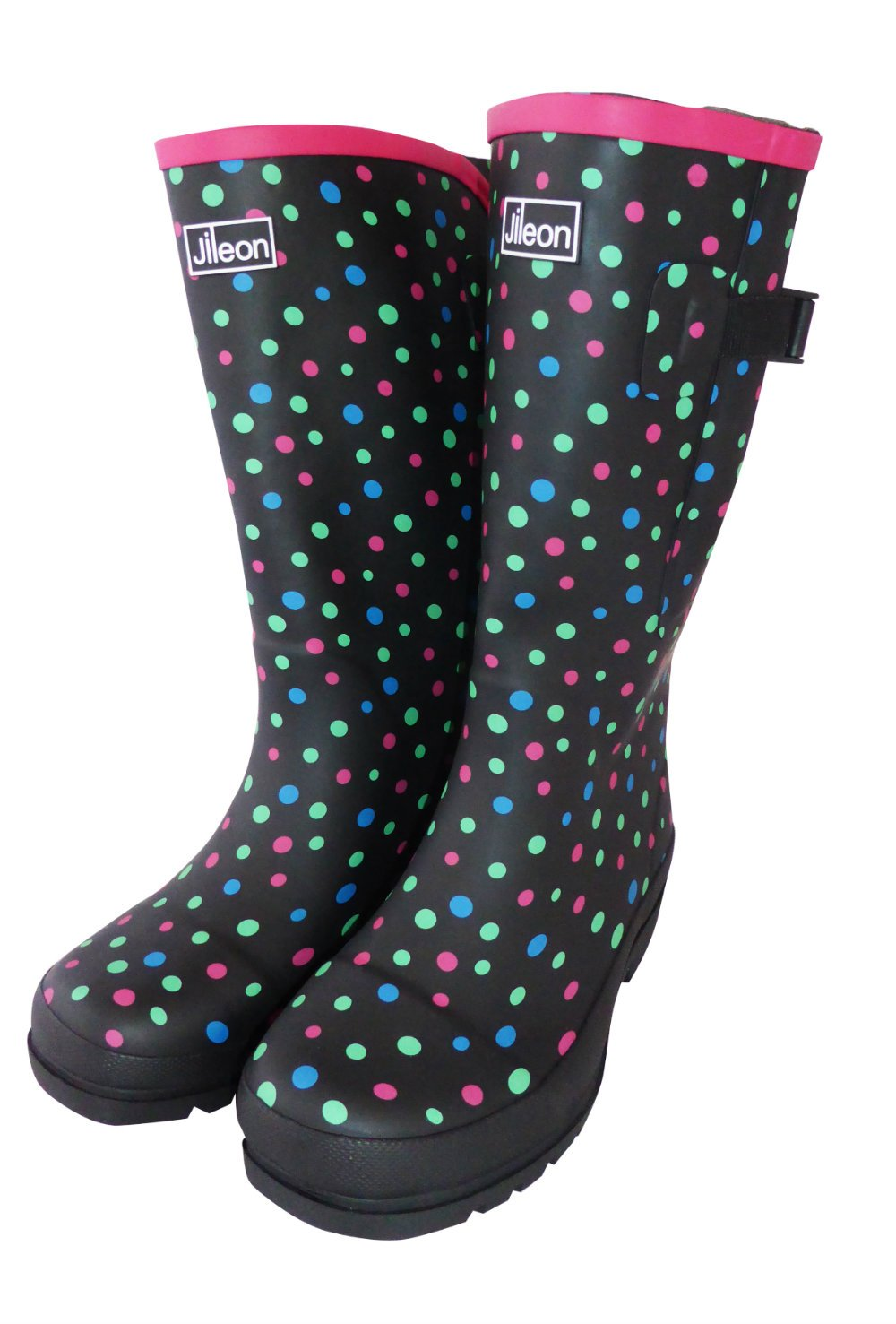 Jileon Extra Wide Calf Rubber Rain Boots with Rear Expansion -Widest Fit Boots in The US - up to 21 inch Calves- Wide in The Foot and Ankle -Durable Boots for All Weathers B074VCS6KM 6 E (US)|Coloured Spots