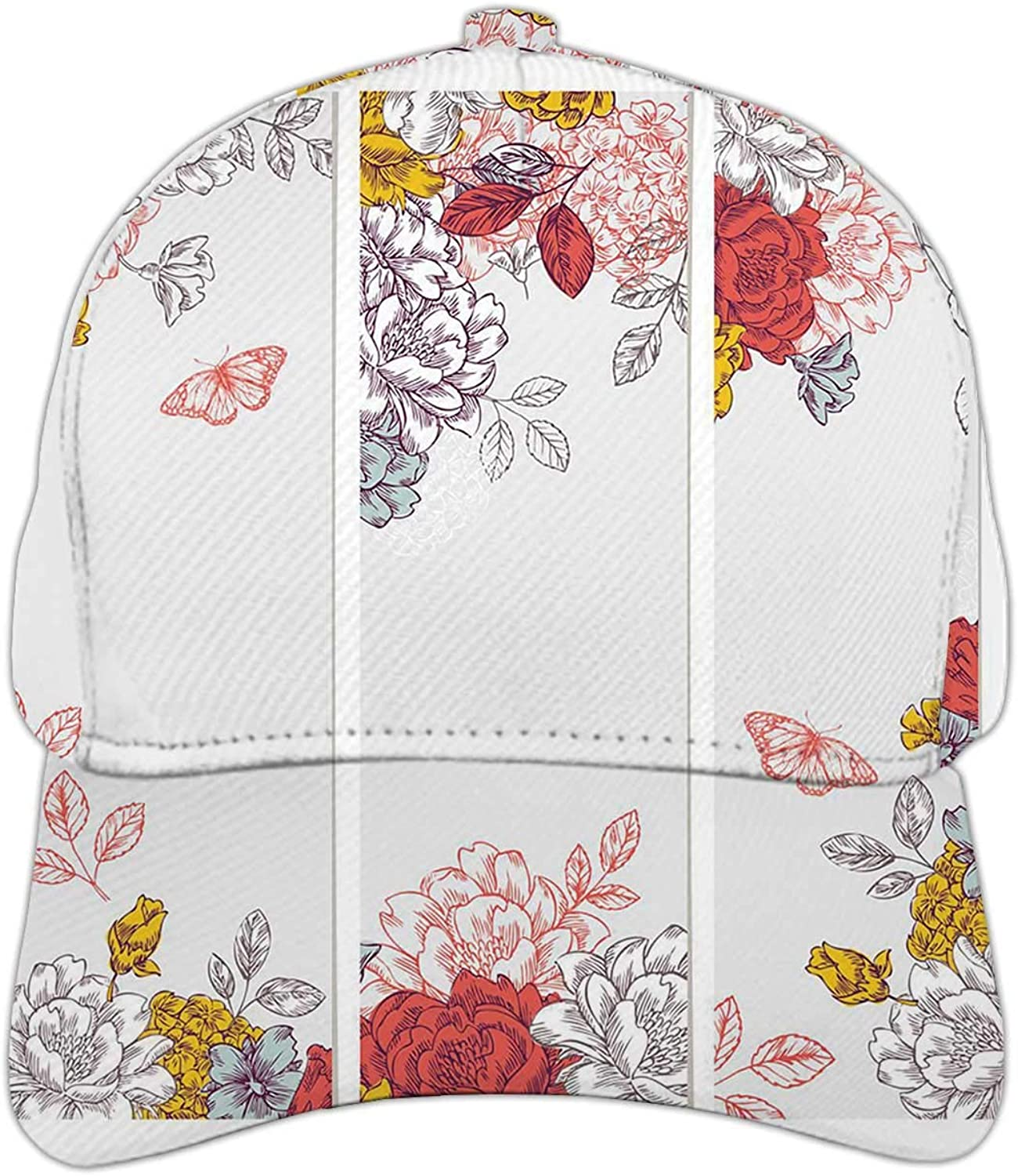 Peony Flower Banner Collection,Hat for Man and Women,Adjustable Snapback Hat for Men Women