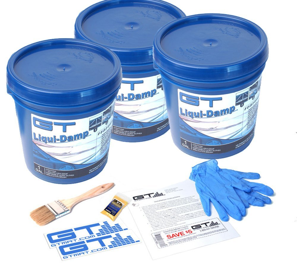 3 Gallon GT Liqui-Damp Car/Truck/RV Liquid Sound Dampener Kit - Includes: 3 GAL GT Liqui-Damp, Instruction Sheet, Application Brush, Degreaser, GT MAT Decals, and Disposable Gloves