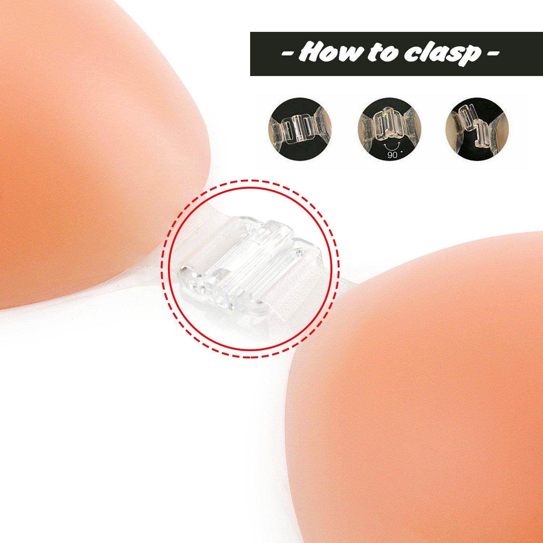WingsLove Mujer Push Up Sujetadores Silicona Nubra Adhesivos Invisibles Bra + Bolsa de viaje: Amazon.es: Ropa y accesorios