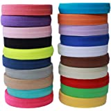 Masokan Solid Color Sewing Fold Over Elastic Stretch FOE and Foldover FOE Trim Elastic Ribbon by The Yard for Hair Ties…