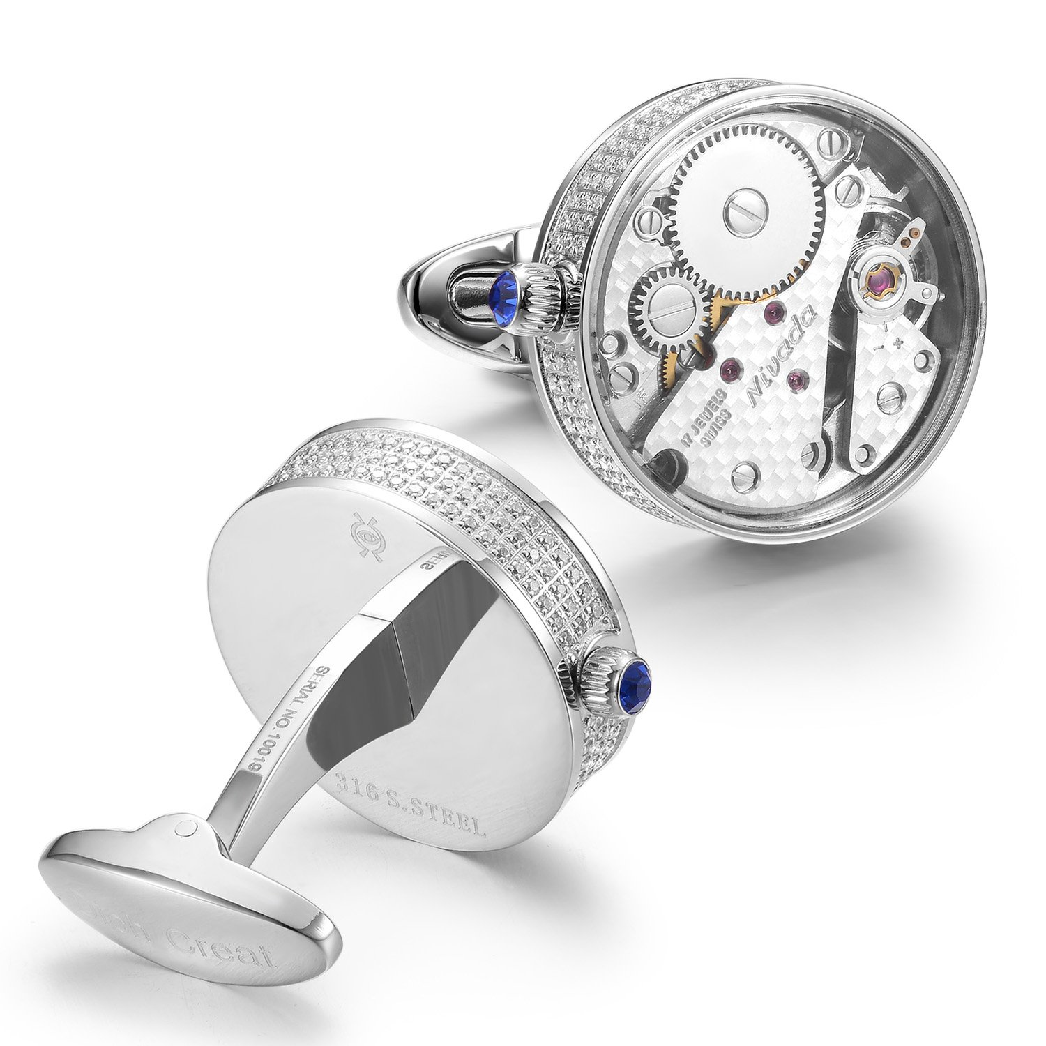 Dich Creat Stainless Steel Rhodium Plated Inlay Jewels Swiss Luxury Movement Cufflinks Covered with Glass by Dich Creat